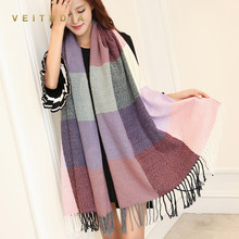 VEITHDIA 2019 Autumn Winter Female Wool Scarf Women Cashmere Scarves Wide Lattices Long Shawl Wrap Blanket Warm Tippet wholesale(China)
