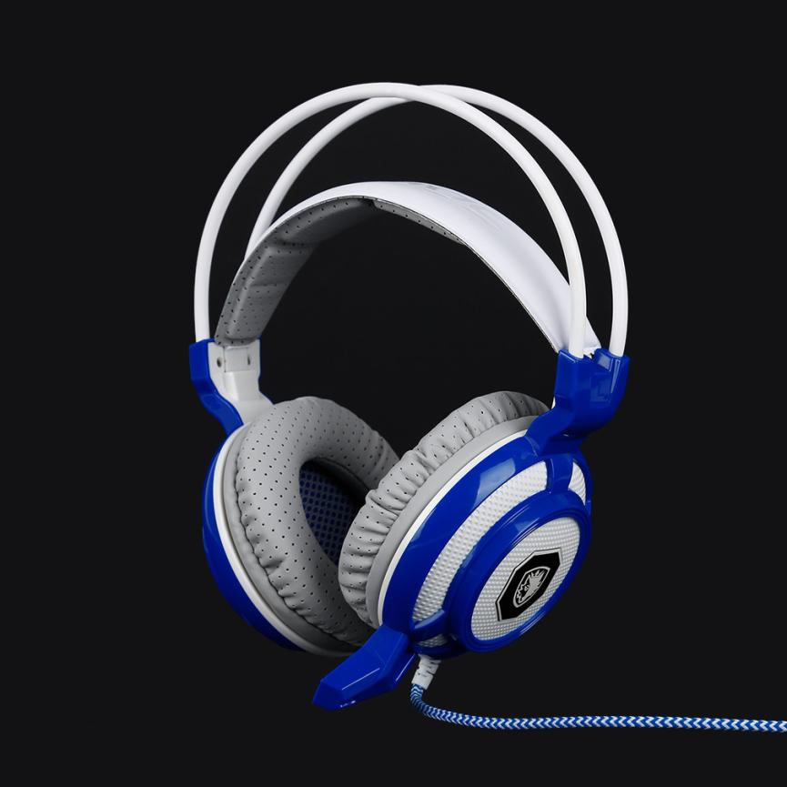 ФОТО Sades SA905 USB Interface Big Earphone White&blue Breathing LED Light Vibration PC Gaming Headset for PC With Microphone