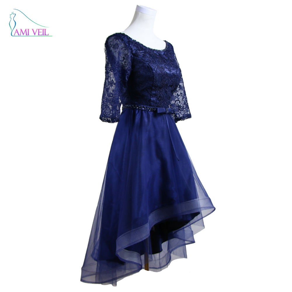 Asymmetrical Hollow Lace Navy Blue Evening Dresses High
