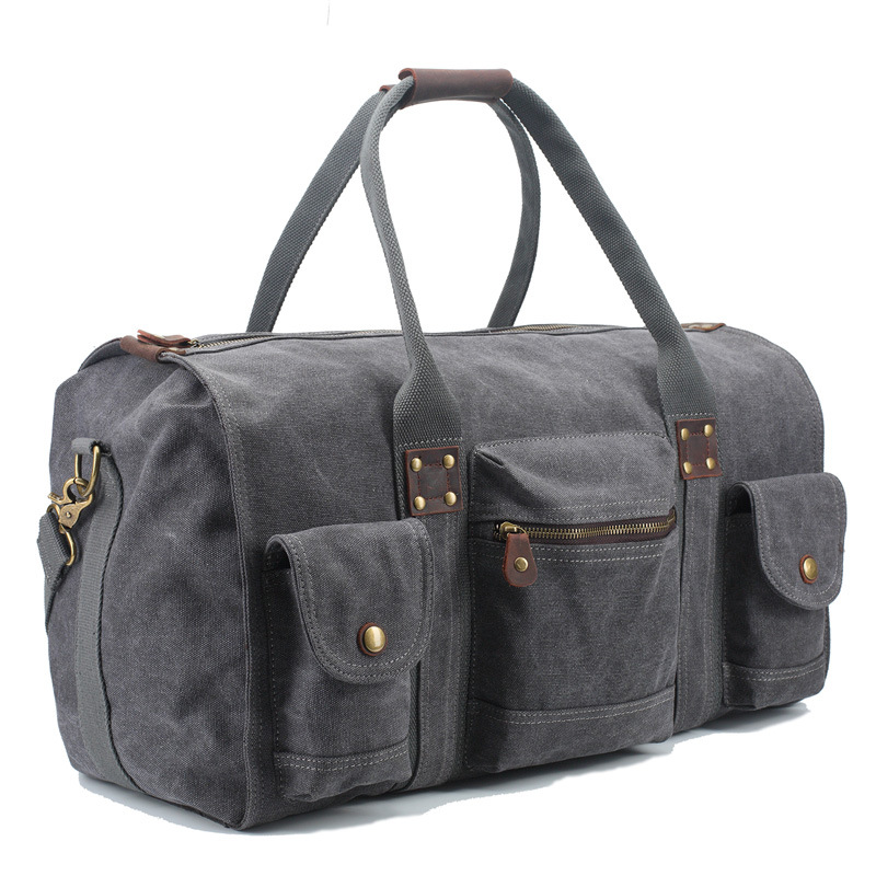ФОТО Vintage Military Canvas Leather Men Travel Bags Luxury Carry on Luggage Mens Duffel Tote Large Weekend Bag Overnight