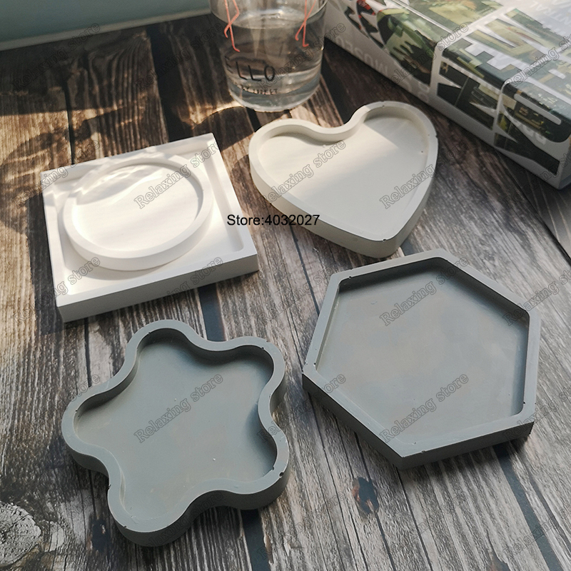 Hexagon Coaster Concrete Tray Silicone Mold Round Square Candlestick Plaster Base Tray Mould Cement Flowerpot Pedestal Molds