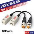 10 Pairs 200 M Gama Para HDCVI/AHD/TVI cámara Twisted BNC CCTV Video Balun Pasivo Transceptores UTP CCTV Balun BNC Cat5 UTP