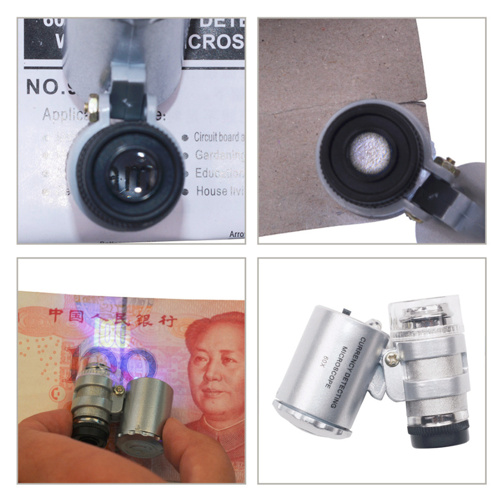 HTB1NoFkjIuYBuNkSmRyq6AA3pXa5 60X Mini Microscope Jeweler Loupe Lens Illuminated Magnifier Glass 3 LED With UV Light