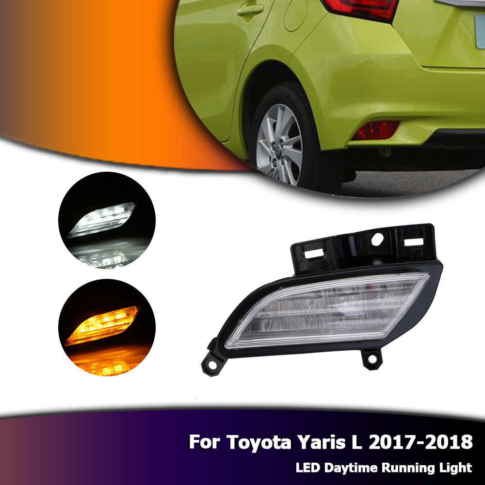 White Daylight Auto Car LED DRL Driving Daytime Running Day Fog Lamp Light Yellow Turn For Toyota Yaris L 2017-2018 D35 1 pair metal shell eagle eye hawkeye 6 led car white drl daytime running light driving fog daylight day safety lamp waterproof