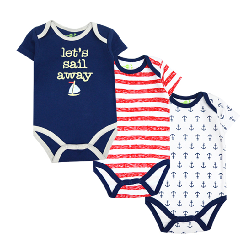 3pcs/lot 2015 New Baby Romper 100% Cotton Short Sleeve Animal Baby Boy Girl Jumpsuit Baby Clothing Set