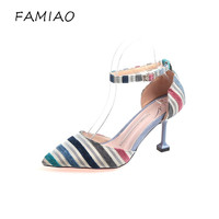 FAMIAO Sandalias Mujer 2018 Fashion Women S Strip Buckle High Heels Pointed Toe Famle Party Shoes