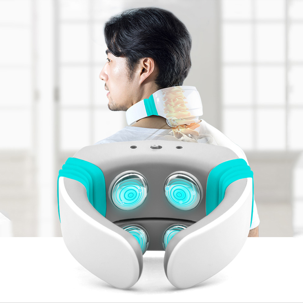 Electric Tens Pulse Neck Shoulder Massager Wireless Remote Control Heat Therapy Kneading Shiatsu Cervical Massage Pain Relief