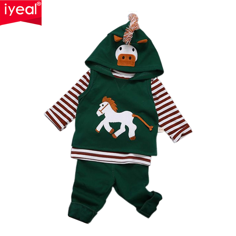 IYEAL Baby Boy Clothes Long Sleeve Cotton T-shirt Tops + Pants + Cartoon Hooded Vest 3PCS Outfit Toddler Kids Clothing Sets t shirt tops cotton denim pants 2pcs clothes sets newborn toddler kid infant baby boy clothes outfit set au 2016 new boys