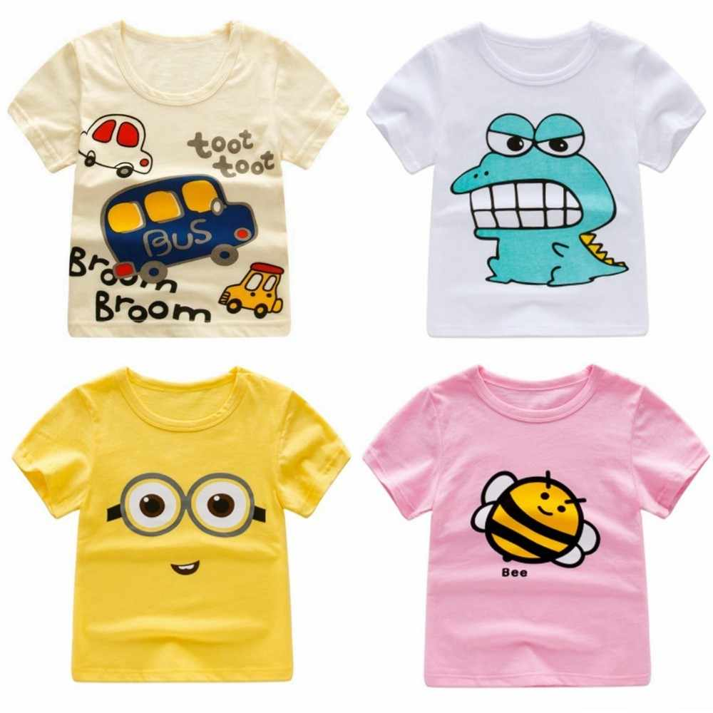 4ede16a9 2018 Summer Girls & Boys Short Sleeve T Shirts Cartoon Print T-shirt  Striped Tee