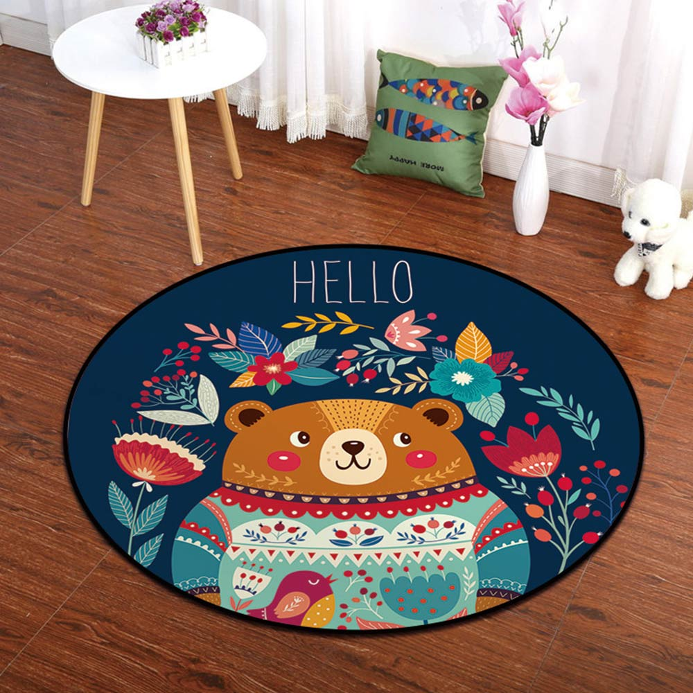 Cartoon Circle Mat Kids Child Climbing Pad Nordic Style Bedroom Baby Room Decor Animal Printed Toddler Activity Playmat Gym | Happy Baby Mama