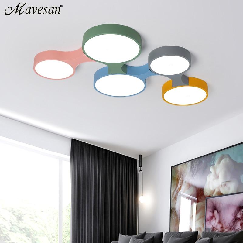 Nórdico levou Luzes de Teto lâmpada para Quarto Candeeiros de Tecto Moderno Colorido fina Rodada Iluminação plafondlamp lamparas de techo