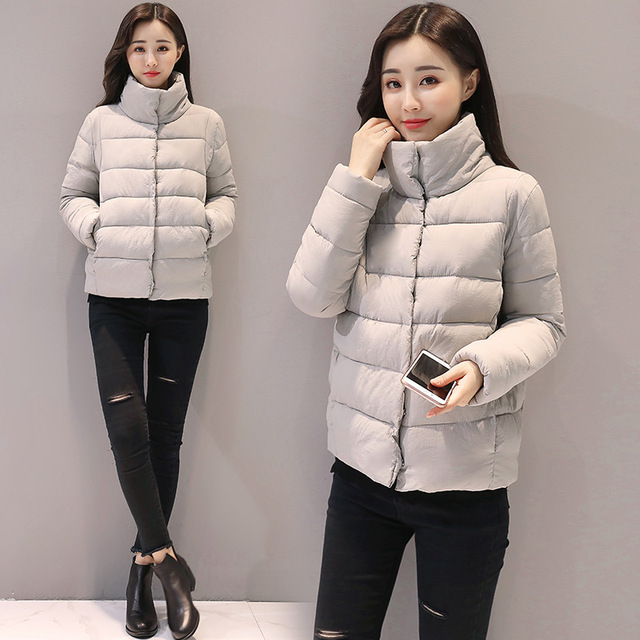 New Polyester Long Zipper High Waist Full Flocking Special Offer 2018 Winter Coat Stand Clothes Small Jacket Loose