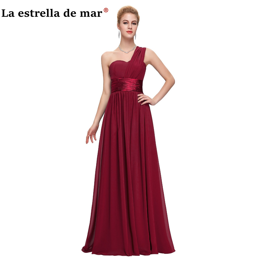 vestidos de festa vestido longo para casamento 2019 chiffon one shoulder a Line Purple Royal Blue Burgundy   bridesmaid     dresses