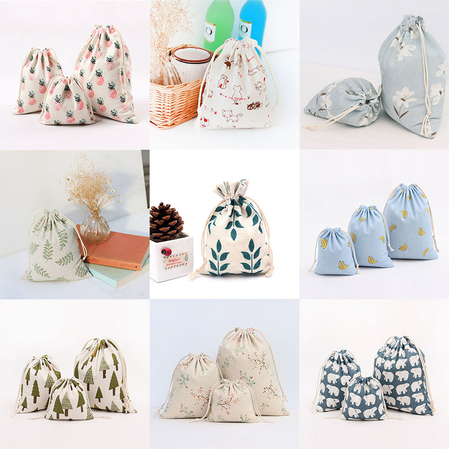 Size 14*16cm/19*24cm/25*32cm 10 Styles Drawstring Pouches Wedding Gift Bags For DIY Cotton And Hemp Cloth Bags Jewelry Packaging