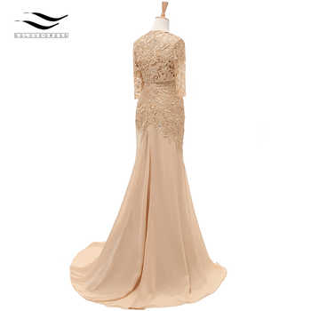 Three Quarters Sleeves Champagne Mermaid Lace Formal Evening Dress With Jacket Mother Of Bride Gown For Wedding Party SL-M002