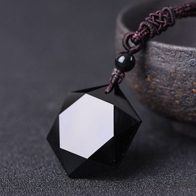 1 PC High Quality Women Men Necklace Black Obsidian Stone Hexagram Shape Pendant Jewelry Sweater Chain Ornaments