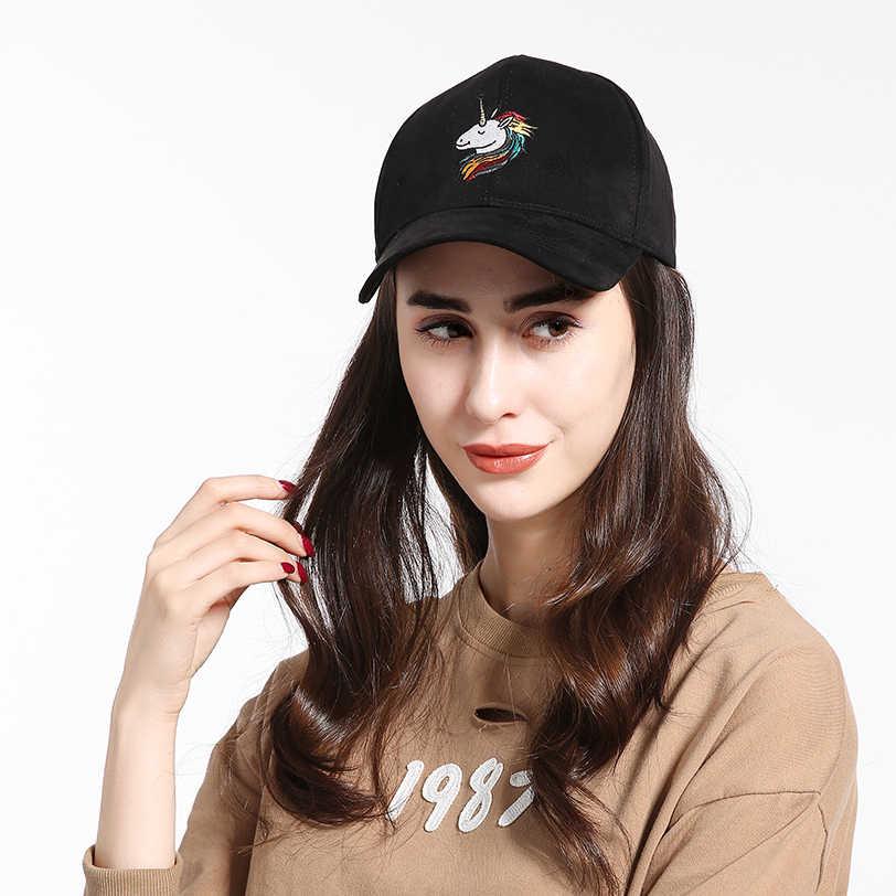 WEARZONE Unisex Unicorn İşlemeli Faux Süet beyzbol şapkası Yumuşak Ayarlanabilir Baba Şapka Kadınlar/Erkekler için