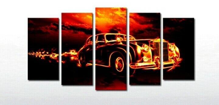 5 панель плакат Большой HD Печатный маслом пожарного автомобиля Печать холст искусство дома декоративно-прикладного искусства фотографии д...