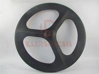 LURHACHI Carbon 3 Spokes Wheel Road /Track/Fixed Gear Carbon Wheels 700C Clincher/Tubular Tri Spoke Wheel Road With Novatec Hub