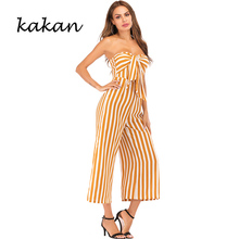Kakan sexy holiday style women's jumpsuit Variety striped tube top bow wide leg jumpsuit palazzo leg striped cami jumpsuit