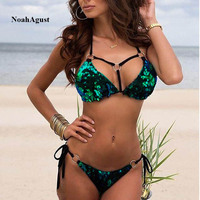Padded Sequin Bandage Bikini Set Metal Sexy Bathing Suit Women Push Up Bikinis Purple Green Gold Beach Wear Thong Sexy Swimsuit