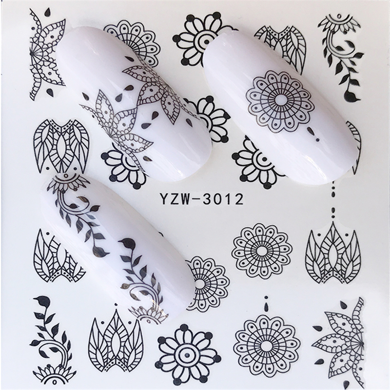 YWK Nail Sticker Black Line Vine Leaf Lace Water Transfer Slider Decal Design Nail Art Decoration Manicure