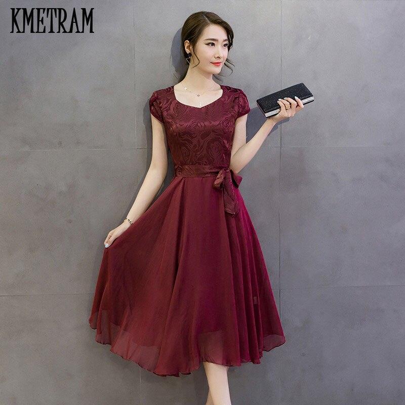 US $19.13 49% OFF|Summer Dress Female 2018 Elegant Chiffon Silk Party  Dresses for women Red Robe Femme Plus Size Womens Vestidos Mujer YJZ117-in  ...