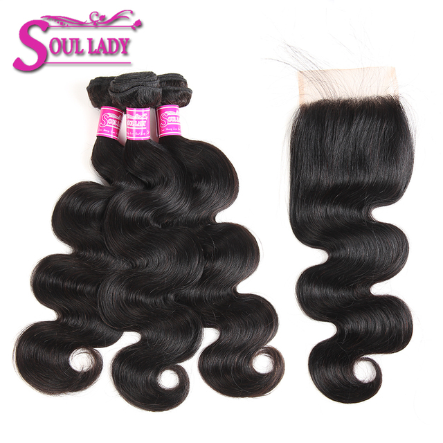 Soul Lady Brazilian Body Wave Human Hair 3 Bundles With Lace Closure Free Part 4 Pcs/Lot Natural Color Hair Weave Extension