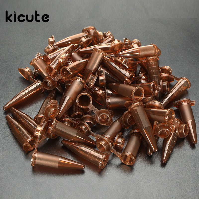 Kicute 50pcs Brown Plastic Centrifugal Test Tube Sample 1.5ml Vial With Snap Cap For Samples Use For Lab Equipment School Supply