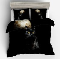 Fashion Black cat moon print 100% polyester twin full queen king size Duvet cover fitted pillowcase for Boys girls bedding Sets