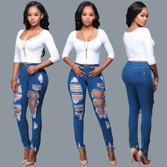 3175156b2f5e 2018 Summer Skinny Jeans Women Stretch Tight Trousers Sexy Ripped High  Waist jeans Push Up Hip plus size Pencil Pants Female