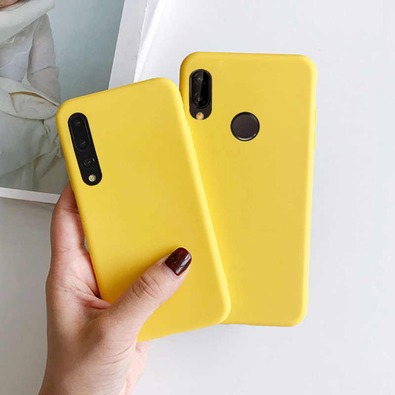 Yellow Candy Matte Clear TPU Case For Samsung Galaxy A10 A20 A20E A2 Core A30 A40 A40S A50 A70 A80 A90 M10 M20 M30 Rubber Cover