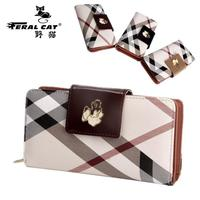 FERAL CAT Brand Women Fashion Plaid Leather Long Wallets Women Handy Portable Casual Lady Top Quality Holder Wallet Gift FC-7105