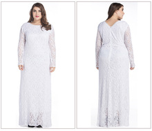 Wholesale Long Women Abaya Dress Maxi Size 7XL Jibabas White Party Muslim Lace Abaya With Free Shipping(China)