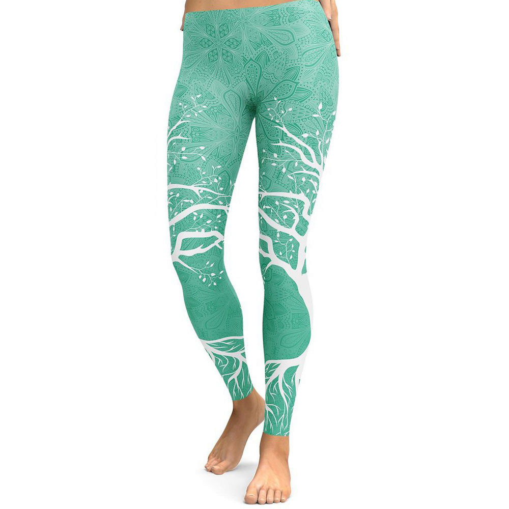 Leggings   Sporting Women Fitness High Waist Lovely Tree Printing Slim Skinny   Legging   Soft Exercise Breathable Pencil Pants Femme