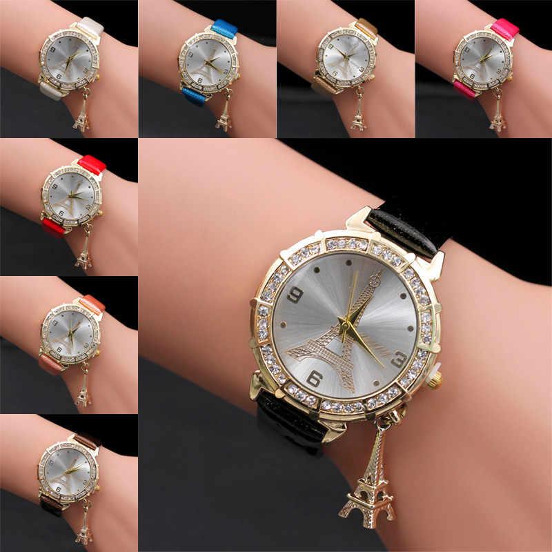 Paris Tháp Eiffel Cho Nữ Cô Gái Giả Da Đồng Hồ Đeo Tay Thạch Anh Nữ Casual Đồng Hồ Relogio Feminino Relojes Mujer Tặng Reloj Mujer
