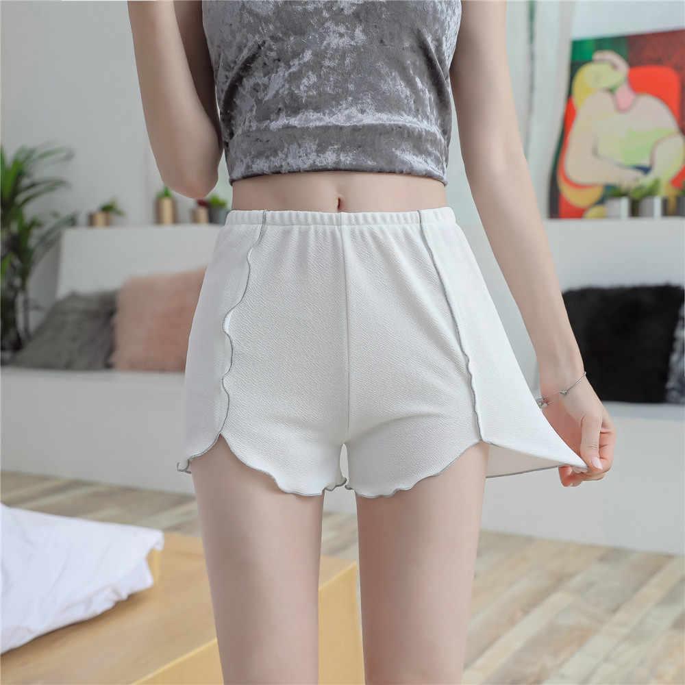 Plus rozmiar 5XL szorty damskie 2019 nowe lato srebro Ruffles szorty Slim elastyczność białe spodenki krótkie spodnie