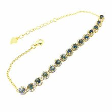 shilovem 925 silver sterling Natural sapphire Bracelets  fine Jewelry trendy new gift women yhl030302agl
