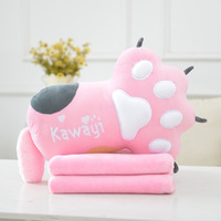 Cute Cat Plush Toy Pillow & Blanket Soft Cushion Cat Paw Kawaii Cloud Stuffed Plush Toys For Children Baby Kids Pillow Girl Gift