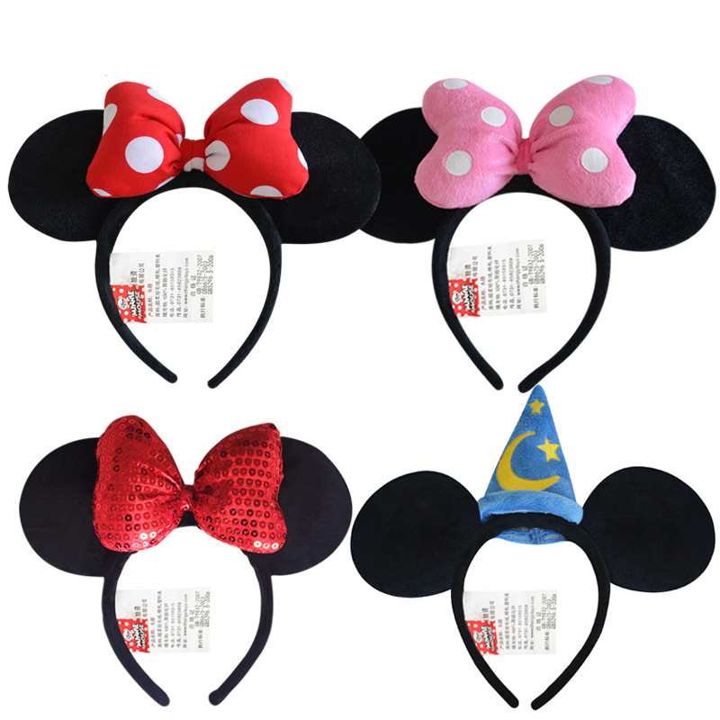 Disney Genuine Toys Minnie Mouse Headdress Plush Mickey Head Minnie Ears Girls Hair Bands Princess Head Hoop Kids birthday Gift
