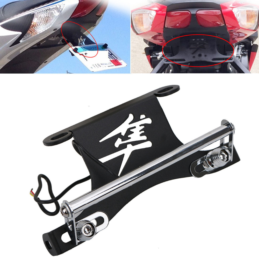 Motorcycle LED License Platel Light Bracket for Suzuki Hayabusa GSX1300R SM Pl 2008-2016 Moto Fender Eliminator Tail Tidy #MX015 for suzuki gsxr1000 2007 2008 motorcycle licence plate bracket tail tidy rear fender eliminator billet aluminum