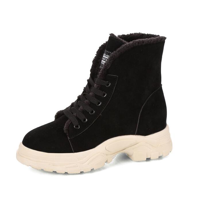 Invierno Martin Mujer Nieve Creciente De Negro Z121 2019 La Altura Redonda khaki Boot señoras Vaca Punta Encaje Tobillo Para Zapatos Botas Effgt tZq7wTw