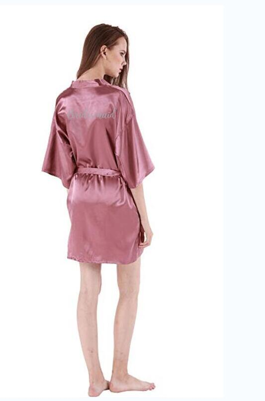 dark pink robe silver letter kimono personalised satin pajamas wedding robe bridesmaid sister mother of the bride robe