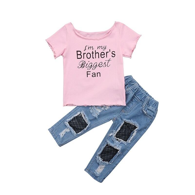 2 StÜcke Fashion Neugeborene Kleinkind Kinder Mädchen Kleidung Set Kurzarm Baumwolle T-shirt Tops Net Loch Denim Pant Jean Outfit Kleidung