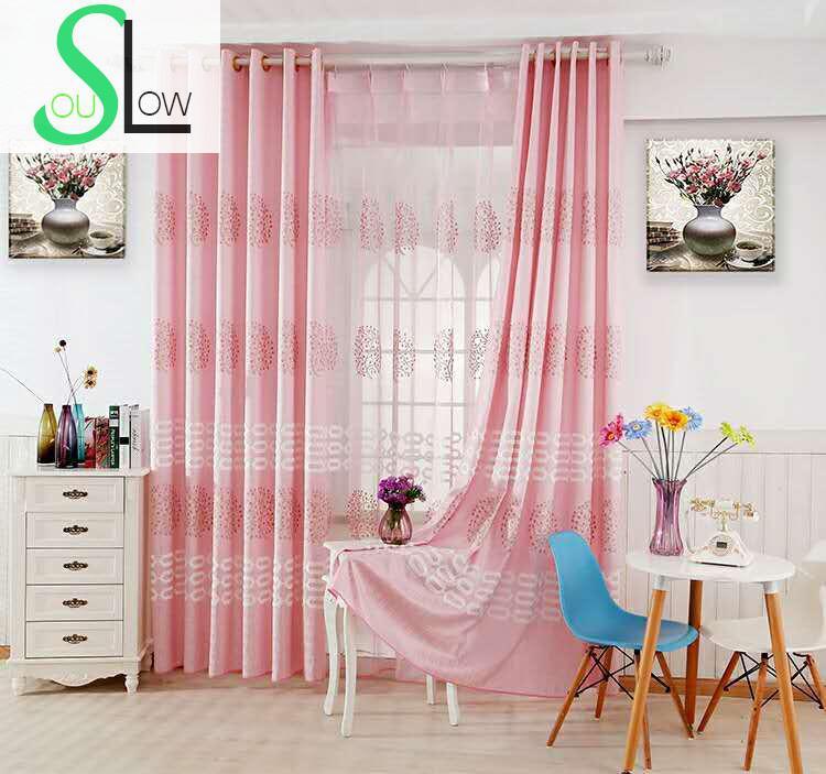 Slow Soul Beige Light Blue Pink High Grade Fabric Tree Curtains ...