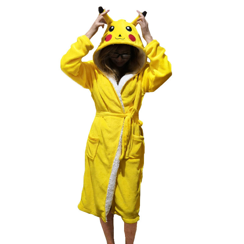 Image 2 - Unisex Animal Sleepwear Robe Sleep Cute Nightgown unicorn Stich night robe Bathrobe Winter Homewear Dressing Gowns For Women Men-in Robes from Underwear & Sleepwears
