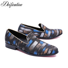 Deification Stylish Printed Mens Flats Casual Leather Shoes Moccasins Men Loafers Slip On Fashion Italian Male Driving