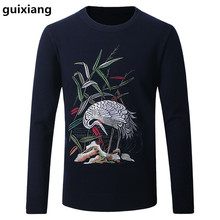 2017 Spring and Autumn men sweater leisure knit white crane pattern color Men's fashion wool sweaters large size M-4XL