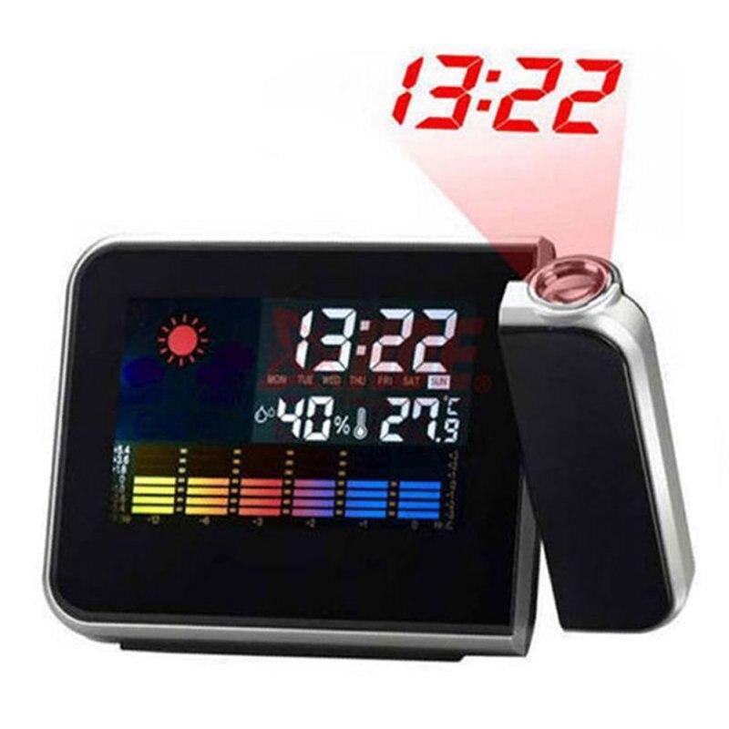 US Shipping LCD Digital Temp Humidity Projector Clock LED Luminous Hygrometer Canlender Alarm Clocks