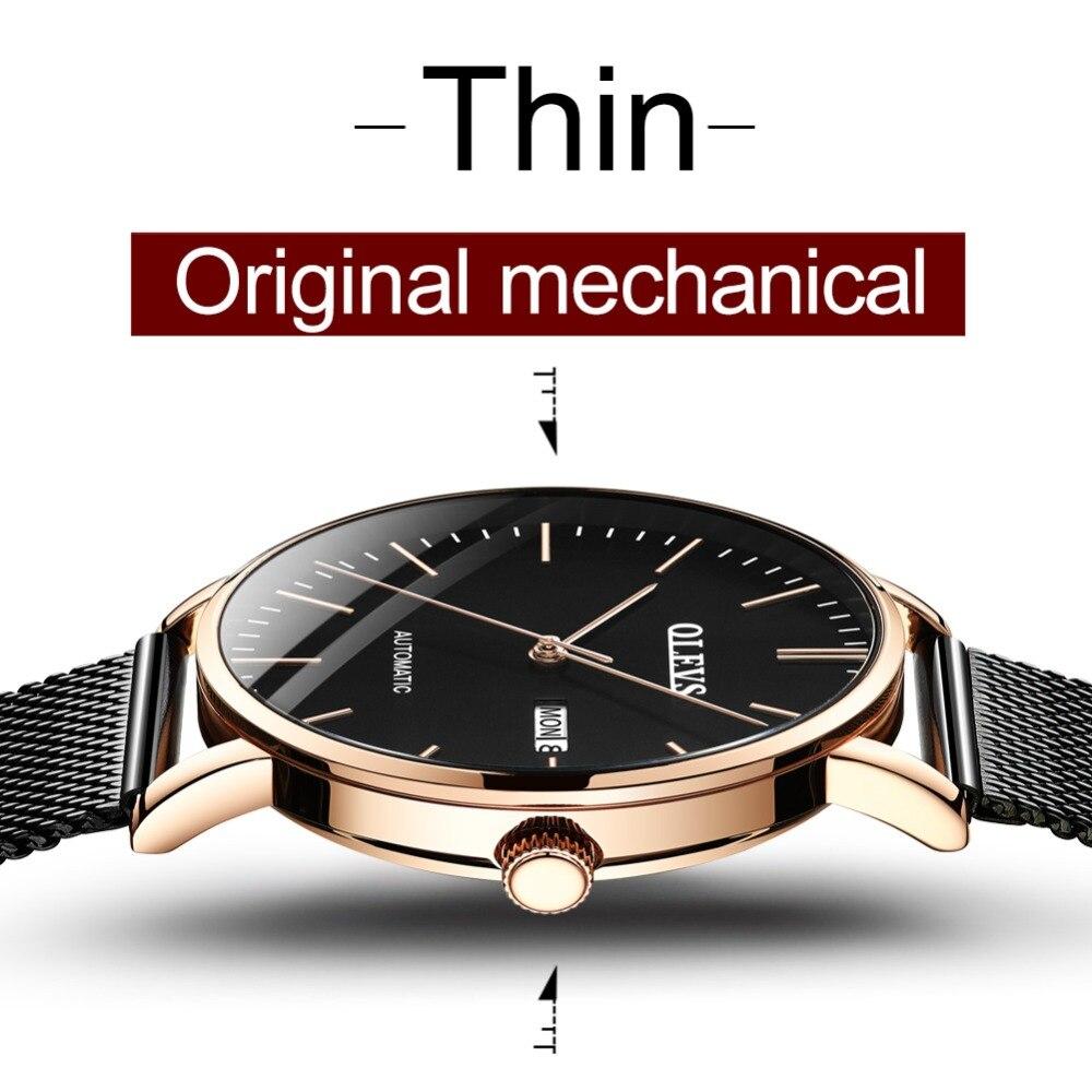 Olevs 미니멀리스트 패션 남자 시계 자동 기계 울트라 얇은 메쉬 스트랩 서브 다이얼 탑 브랜드 럭셔리 로즈 골드 손목 시계-에서기계식 시계부터 시계 의  그룹 3